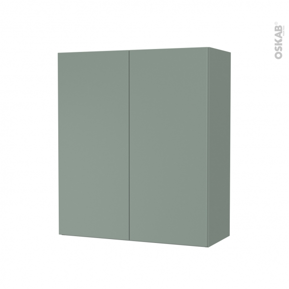 Armoire de salle de bains - Rangement haut - HELIA Vert - 2 portes - Côtés décors - L60 x H70 x P27 cm