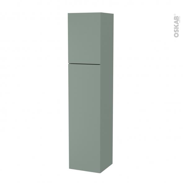 Colonne de salle de bains - 2 portes - HELIA Vert - Côtés décors - Version A - L40 x H182 x P40 cm