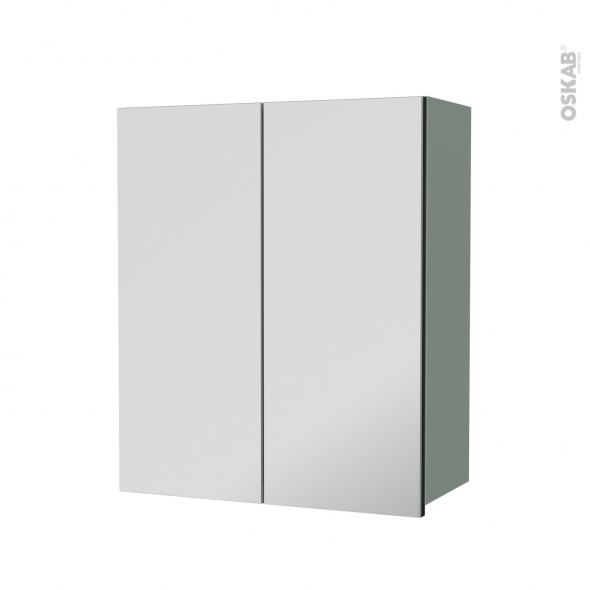 Armoire de salle de bains - Rangement haut - HELIA Vert - 2 portes miroir - Côtés décors - L60 x H70  xP27 cm
