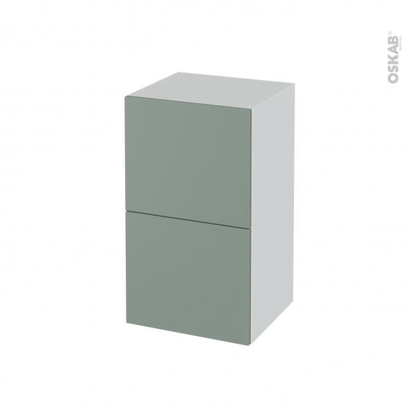 Meuble de salle de bains - Rangement bas - HELIA Vert - 2 tiroirs - L40 x H70 x P37 cm