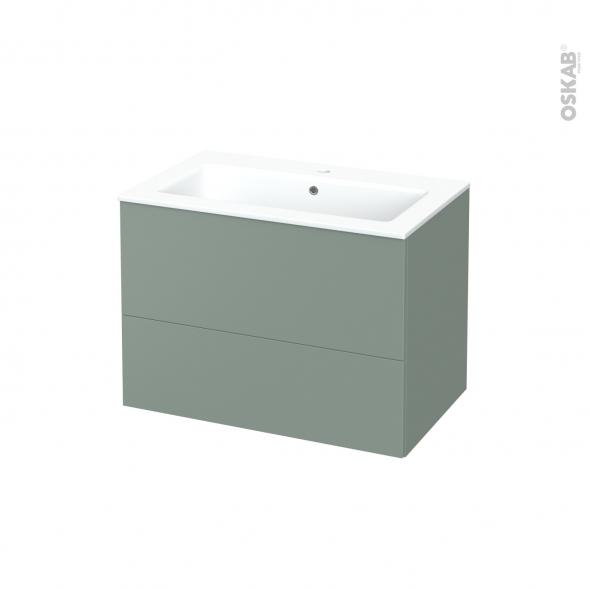 Meuble de salle de bains - Plan vasque NAJA - HELIA Vert - 2 tiroirs - Côtés décors - L80.5 x H58.5 x P50.5 cm