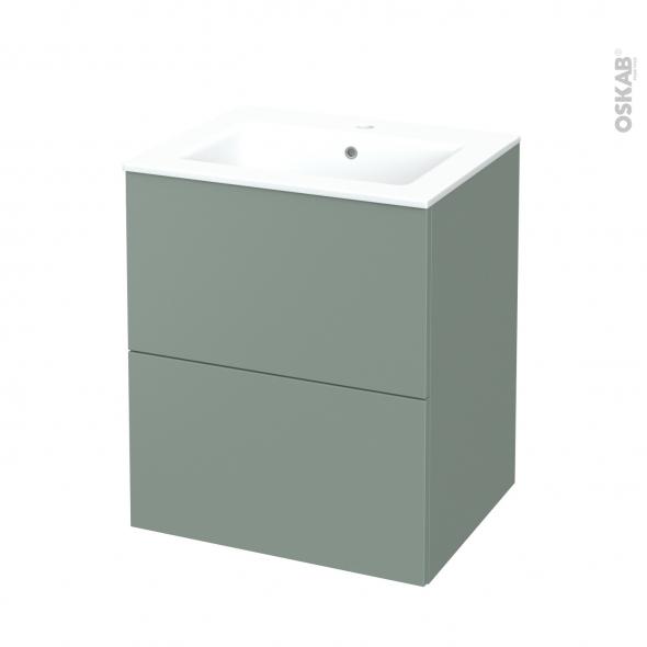 Meuble de salle de bains - Plan vasque NAJA - HELIA Vert - 2 tiroirs - Côtés décors - L60,5 x H71,5 x P50,5 cm