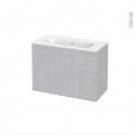 Meuble de salle de bains - Plan vasque REZO - HODA Béton - 2 tiroirs - Côtés décors - L80.5 x H58.5 x P40.5 cm
