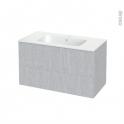 Meuble de salle de bains - Plan vasque REZO - HODA Béton - 2 tiroirs - Côtés décors - L100,5 x H58,5 x P50,5 cm
