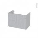 Meuble de salle de bains - Sous vasque - HODA Béton - 2 portes - Côtés décors - L80 x H57 x P50 cm