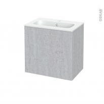 Meuble de salle de bains - Plan vasque REZO - HODA Béton - 1 porte - Côtés décors - L60,5 x H58,5 x P40,5 cm