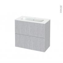 Meuble de salle de bains - Plan vasque REZO - HODA Béton - 2 tiroirs - Côtés décors - L80.5 x H71.5 x P40.5 cm