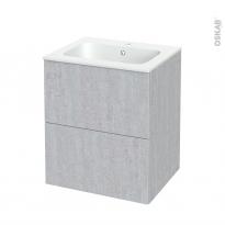 Meuble de salle de bains - Plan vasque REZO - HODA Béton - 2 tiroirs - Côtés décors - L60,5 x H71,5 x P50,5 cm