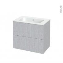 Meuble de salle de bains - Plan vasque REZO - HODA Béton - 2 tiroirs - Côtés décors - L80.5 x H71.5 x P50.5 cm