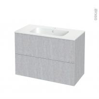Meuble de salle de bains - Plan vasque REZO - HODA Béton - 2 tiroirs - Côtés décors - L100,5 x H71,5 x P50,5 cm