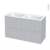 Meuble de salle de bains - Plan double vasque REZO - HODA Béton - 4 tiroirs - Côtés décors - L120,5 x H71,5 x P50,5 cm