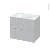 Meuble de salle de bains - Plan vasque VALA - HODA Béton - 2 tiroirs - Côtés décors - L80.5 x H71.2 x P50.5 cm