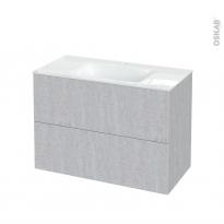 Meuble de salle de bains - Plan vasque VALA - HODA Béton - 2 tiroirs - Côtés décors - L100,5 x H71,2 x P50,5 cm