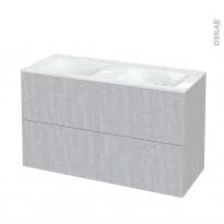 Meuble de salle de bains - Plan double vasque VALA - HODA Béton - 4 tiroirs - Côtés décors - L120,5 x H71,2 x P50,5 cm