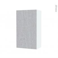 Armoire de salle de bains - Rangement haut - HODA Béton - 1 porte - Côtés blancs - L40 x H70 x P27 cm