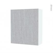 Armoire de salle de bains - Rangement haut - HODA Béton - 1 porte - Côtés blancs - L60 x H70 x P27 cm