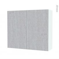 Armoire de salle de bains - Rangement haut - HODA Béton - 2 portes - Côtés blancs - L80 x H70 x P27 cm