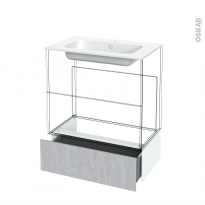Tiroir sous meuble - Socle n°101 - HODA Béton - pour meuble salle de bains - L80 x H26 x P45 cm