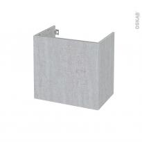 Meuble de salle de bains - Sous vasque - HODA Béton - 1 porte - Côtés décors - L60 x H57 x P40 cm