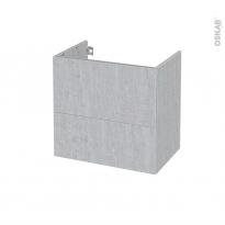 Meuble de salle de bains - Sous vasque - HODA Béton - 2 tiroirs - Côtés décors - L60 x H57 x P40 cm