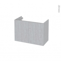 Meuble de salle de bains - Sous vasque - HODA Béton - 2 portes - Côtés décors - L80 x H57 x P40 cm