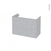 Meuble de salle de bains - Sous vasque - HODA Béton - 2 tiroirs - Côtés décors - L80 x H57 x P40 cm
