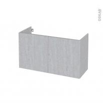 Meuble de salle de bains - Sous vasque - HODA Béton - 2 portes - Côtés décors - L100 x H57 x P40 cm