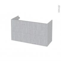 Meuble de salle de bains - Sous vasque - HODA Béton - 2 tiroirs - Côtés décors - L100 x H57 x P40 cm