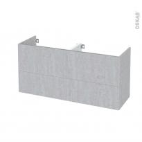 Meuble de salle de bains - Sous vasque double - HODA Béton - 4 tiroirs - Côtés décors - L120 x H57 x P40 cm