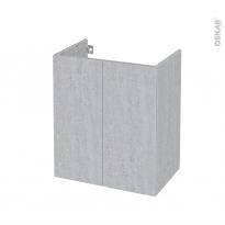 Meuble de salle de bains - Sous vasque - HODA Béton - 2 portes - Côtés décors - L60 x H70 x P40 cm