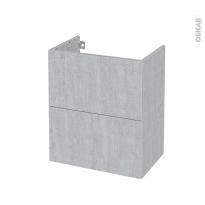 Meuble de salle de bains - Sous vasque - HODA Béton - 2 tiroirs - Côtés décors - L60 x H70 x P40 cm