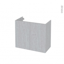 Meuble de salle de bains - Sous vasque - HODA Béton - 2 portes - Côtés décors - L80 x H70 x P40 cm
