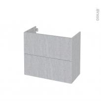 Meuble de salle de bains - Sous vasque - HODA Béton - 2 tiroirs - Côtés décors - L80 x H70 x P40 cm