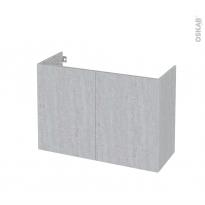 Meuble de salle de bains - Sous vasque - HODA Béton - 2 portes - Côtés décors - L100 x H70 x P40 cm