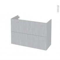Meuble de salle de bains - Sous vasque - HODA Béton - 2 tiroirs - Côtés décors - L100 x H70 x P40 cm