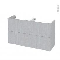 Meuble de salle de bains - Sous vasque double - HODA Béton - 4 tiroirs - Côtés décors - L120 x H70 x P40 cm