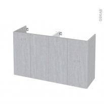 Meuble de salle de bains - Sous vasque double - HODA Béton - 4 portes - Côtés décors - L120 x H70 x P40 cm