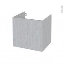 Meuble de salle de bains - Sous vasque - HODA Béton - 1 porte - Côtés décors - L60 x H57 x P50 cm