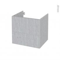 Meuble de salle de bains - Sous vasque - HODA Béton - 2 tiroirs - Côtés décors - L60 x H57 x P50 cm