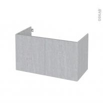 Meuble de salle de bains - Sous vasque - HODA Béton - 2 portes - Côtés décors - L100 x H57 x P50 cm