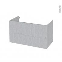 Meuble de salle de bains - Sous vasque - HODA Béton - 2 tiroirs - Côtés décors - L100 x H57 x P50 cm