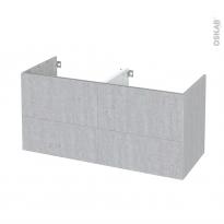 Meuble de salle de bains - Sous vasque double - HODA Béton - 4 tiroirs - Côtés décors - L120 x H57 x P50 cm