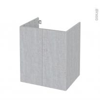 Meuble de salle de bains - Sous vasque - HODA Béton - 2 portes - Côtés décors - L60 x H70 x P50 cm