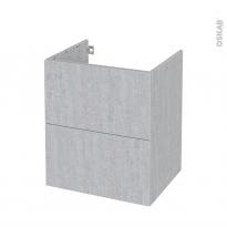 Meuble de salle de bains - Sous vasque - HODA Béton - 2 tiroirs - Côtés décors - L60 x H70 x P50 cm