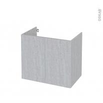 Meuble de salle de bains - Sous vasque - HODA Béton - 2 portes - Côtés décors - L80 x H70 x P50 cm