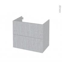 Meuble de salle de bains - Sous vasque - HODA Béton - 2 tiroirs - Côtés décors - L80 x H70 x P50 cm
