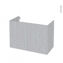 Meuble de salle de bains - Sous vasque - HODA Béton - 2 portes - Côtés décors - L100 x H70 x P50 cm