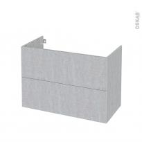 Meuble de salle de bains - Sous vasque - HODA Béton - 2 tiroirs - Côtés décors - L100 x H70 x P50 cm