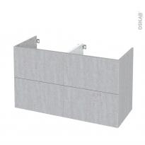 Meuble de salle de bains - Sous vasque double - HODA Béton - 4 tiroirs - Côtés décors - L120 x H70 x P50 cm