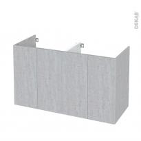 Meuble de salle de bains - Sous vasque double - HODA Béton - 4 portes - Côtés décors - L120 x H70 x P50 cm